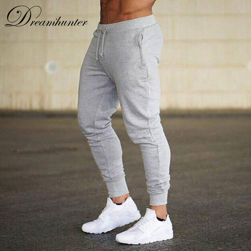 Men's Casual Fitness Pants Joggers Slim Fit Men Solid Color Skinny Long Bodybuilding Workout Sweatpants Trousers Male Tracksuit