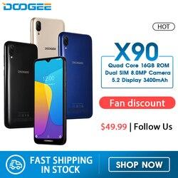 Сотовый телефон DOOGEE X90 6,1 дюйма, 19:9 экран LTPS с технологией Waterdrop, четырехъядерный смартфон, 16 Гб ОЗУ, 3400 мА/ч, две SIM-карты, 8 Мп + 5 Мп, WCDMA, Android Go