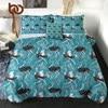 BeddingOutlet Birds Summer Quilt Set Ostriches Air-conditioning Comforter Watercolor Home Textiles Feather Print Thin Quilt 4pcs 1