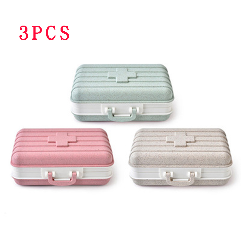 Pill-Box Storage-Containers Portable Food Suit Six-Grid 3PCS Wheat-Straw Environmental-Protection