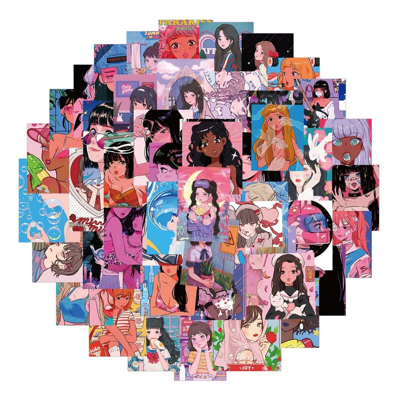 10/50PCS Sweetheart Beauty Stickers Anime Girls Otaku Welfare Illustration for Phone Laptop Luggage Case Graffiti Sticker Decals