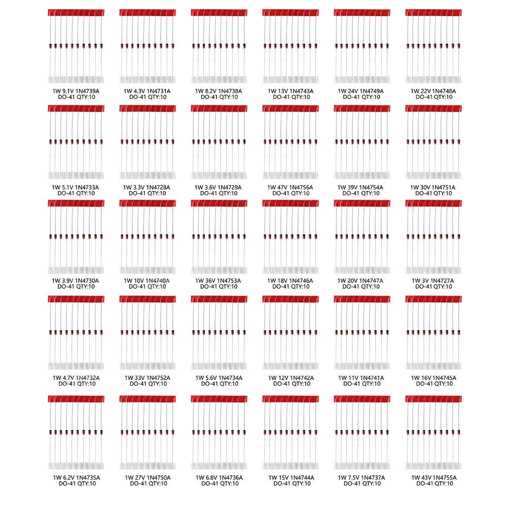 300 шт., набор стабилитронных диодов, 30 значений, 10 шт., 1 Вт, 3 в, 3,3 В, 3,6 В, 5,1 В, 5,6 В, 10 в, 12 В, 13 в, 15 в, 20 В, 24 В, 30, 47 в набор ассортимента