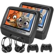 Ecran de voiture 2x9 pouces, repose tête avec moniteur tactile 1080P, lecteur vidéo DVD avec haut parleur intégré, MKV DVD, MP4, USB SD 8 bits
