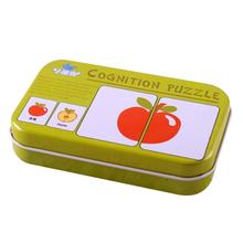 Baby Learning Card Children Cognitive Card With Iron Box Kids English Learn Tool montessori Educativos Tools Table Game Puzzle(China)