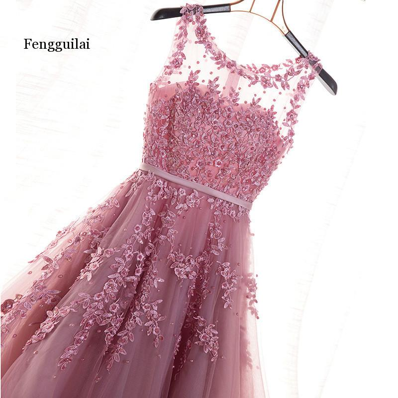 Fengguilai Hot Sell Elegant Floor Length Women Girls Dresses Appliques Beads Formal Party Dresses Pink Red Navy Blue