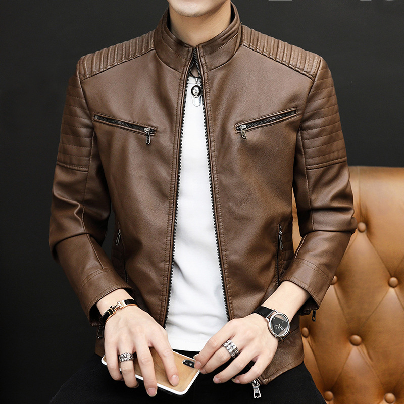 2020 Men  New Style Chest Two Zipper Wrinkle Leather Coat Youth Trend Stand Collar Slim Fit Fashion Zipper Cuff Leather Jacket