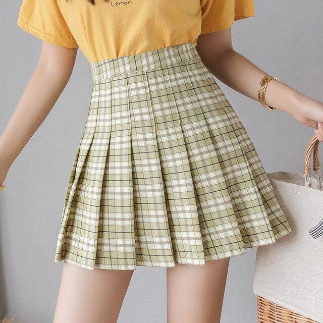 QRWR Summer Women Skirts 2020 New Korean High Waist Plaid Mini Skirt Women School Girls Sexy Cute Pleated Skirt with Zipper 2
