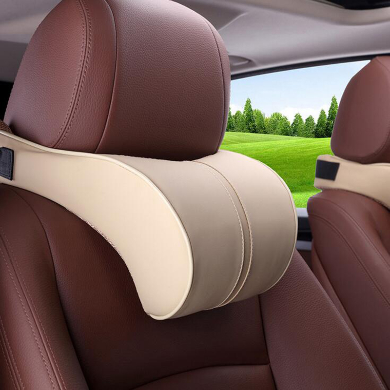 PU Leather Auto Car Neck Pillow Memory Foam car pillow Neck Rest Seat Headrest Cushion Pad High Quality