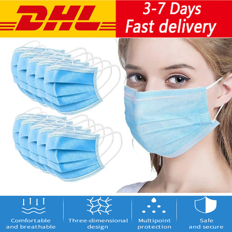 DHL Fastest Shipping 100/200/300/500/1000/2000/5000pcs Disposable Sustproof Face Mouth Masks Anti-Virus Safety Home Face Mask