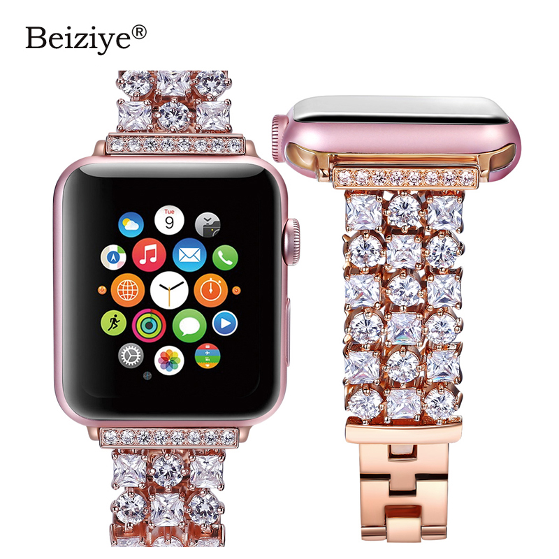 Women Diamond Strap for Apple Watch Band 4 5 44mm 40mm Luxury Bling Replacement Bracelet for iWatch Band 38mm 42mm Series  3 2 1
