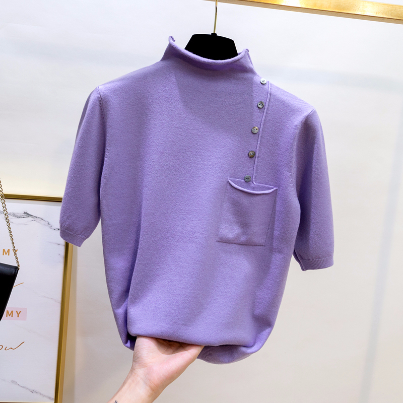 Half Turtleneck Half Sleeve Knitted Sweater Women Buttons Pocket Decoration Pullover 2020 Summer Slim Basic Tops Solid Sweaters