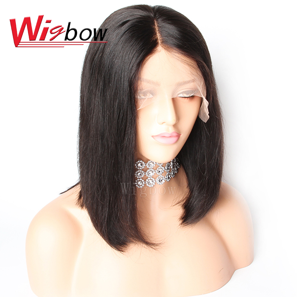Wigbow OneCut Hair Full Lace Human Hair Wigs With Baby Hair Pre Plucked Straight Lace Front Bob Wig Peruvian Lace Frontal Wigs