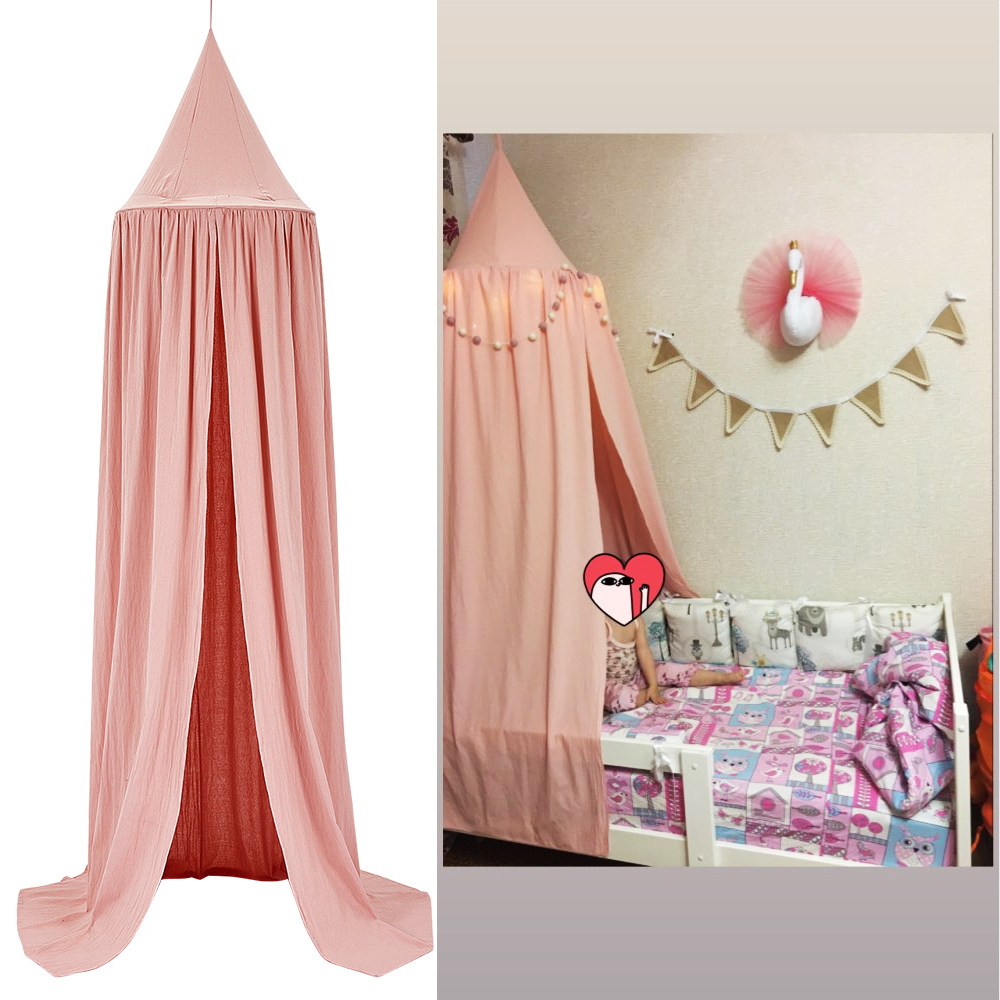 KAMIMI Baby Bed Curtain Children Room Decoration Crib Netting Tent Washed Cotton Cloth Hung Dome Baby Mosquito Net Photog
