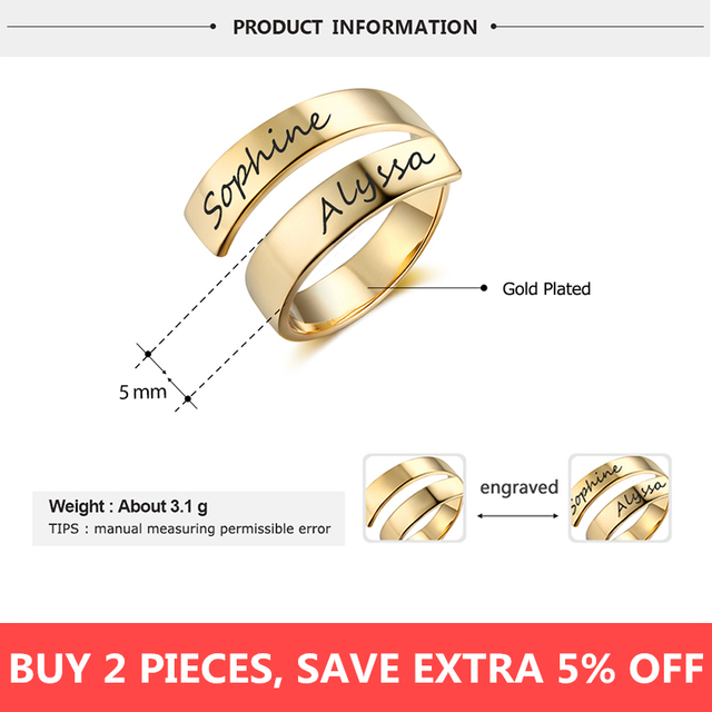 Personalized Stainless Steel Adjustable Ring 2