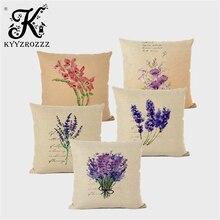 Pillowcase Cushion-Cover Decorative Lavender Flower-Print Bedroom Living-Room Nordic