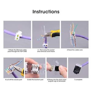 Image 5 - CAT6/CAT5e Tool Less Keystone Jack,AMPCOM RJ45 UTP Keystone Module Adapter No Punch Down Tool Required Couplers 1/2/10 Pack