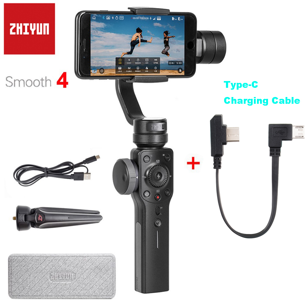 Zhiyun Official Smooth 4 3 Axis Handheld Smartphone Gimbal Portable Stabilizer for iPhone Samsung Action Camera
