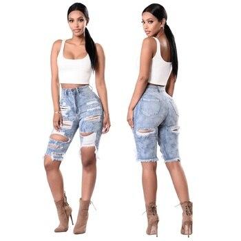Spodnie z otworami kobiety białe dżinsy zgrywanie Skinny kobiety Bodycon moda klub Denim spodnie na co dzień Hollow Out wysokiej talii dżinsy