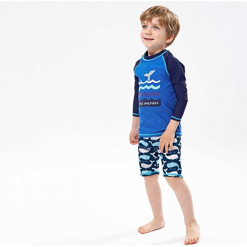 KID'S Swimwear 2018 New Style Foreign Trade Export Boy BOY'S Long Sleeve Sun-resistant Split Type Boxers Hot Springs Tour Bathin