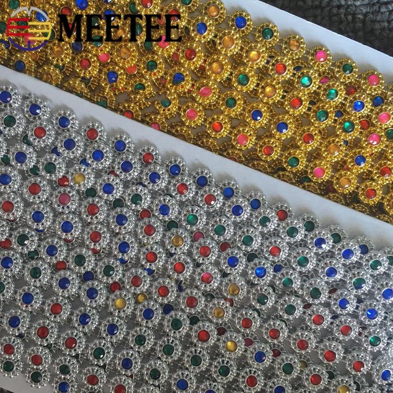 1 Yard Glass Beads Beaded Ribbon Trim Embellishment for Wedding 1.5cm Black