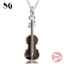 925 sterling silver personalized design Musical instrument violin chain pendant necklace fashion jewelry making for women gifts