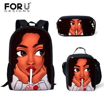 FORUDESIGNS Girls School Bags African Black Girls Hairstyle School Backpack Set Scool Bag For Girl Kids Girl Backpack Junior Bag 30