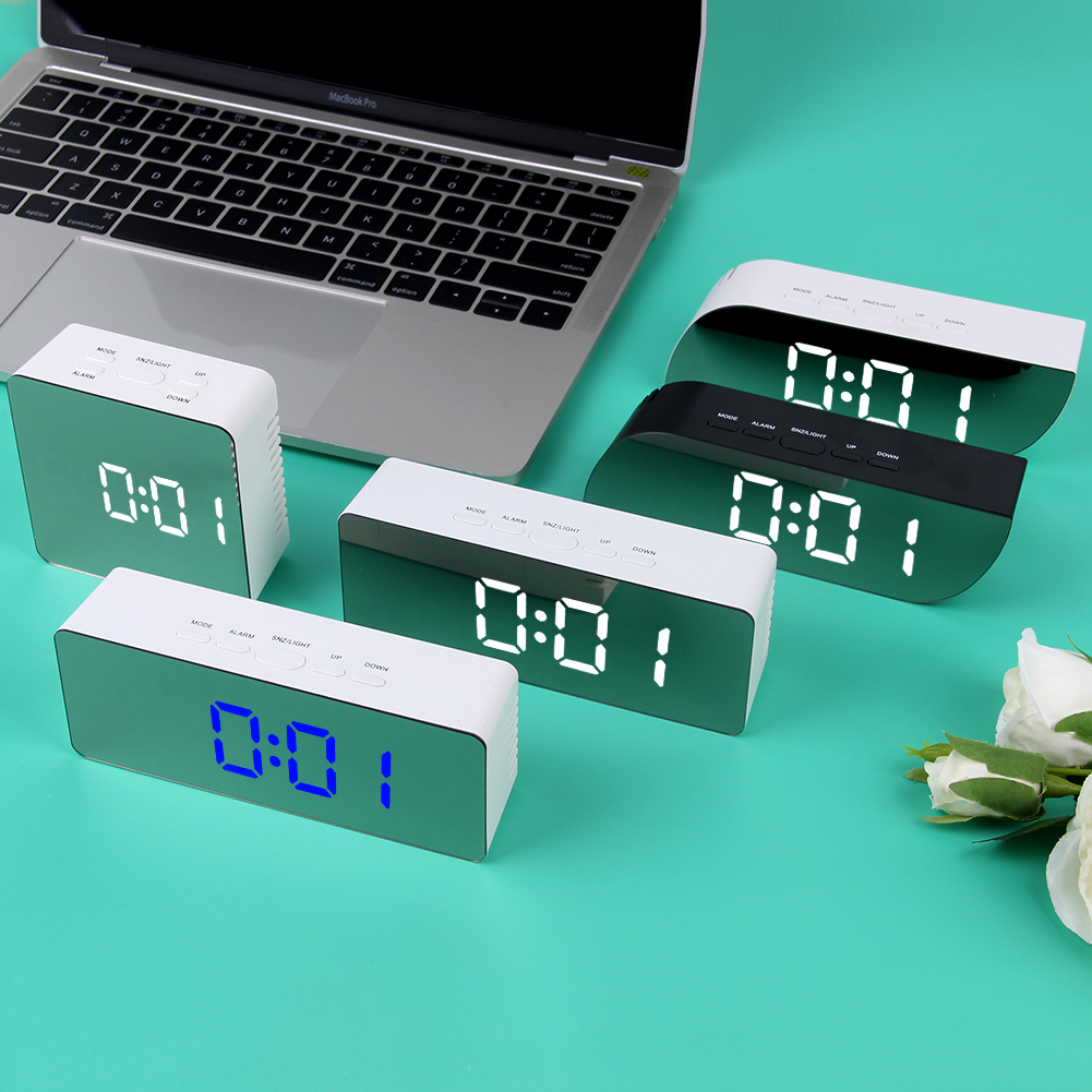 Battery Operated Digital Mirror Alarm Clock with LED Display Used as Night Lights including Temperature Display and Snooze Function 3