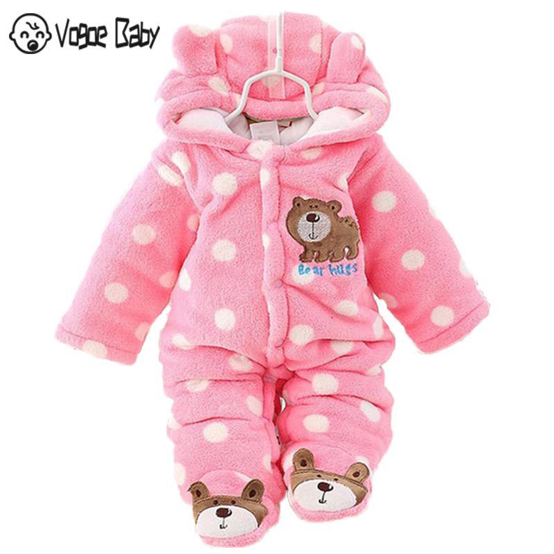 1pc Newborn baby boys girls winter thick warm cotton fleece padded bodysuit bear