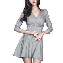 Drop shipping Elegant V Neck Sexy Work Dresses Women Uniform A-line Office Ladies Slim Waist Dress Bodycon Vestidos Mujer(China)
