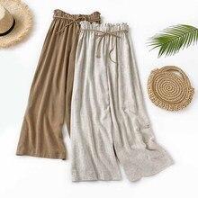 Vintage Loose Women High Waist Pants Korean Casual Wide Leg Linen Trousers Summer Black White Belt Palazzo