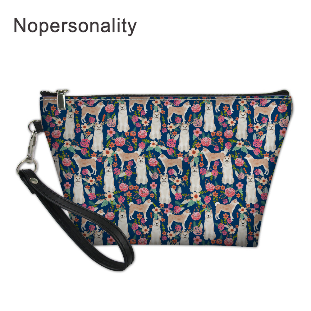 Nopersonality Akita Dog Printed Cosmetic Bag Women Travel Wash Pouch Makeup Case PU Leather Toiletry Kit Bags For Ladies