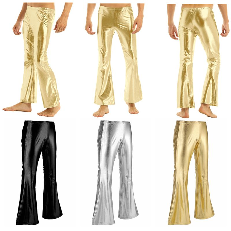 ChicTry Adults Mens Shiny Metallic Disco Pants with Bell Bottom Flared Long Pants Dude Costume Trousers for 70's Theme Parties 15