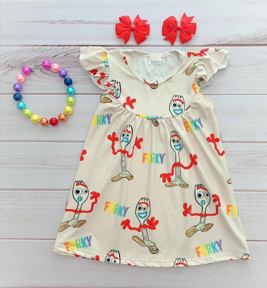 Brand new design baby girls' dresses pearl sleeve in cute forky prints kids wear clothing