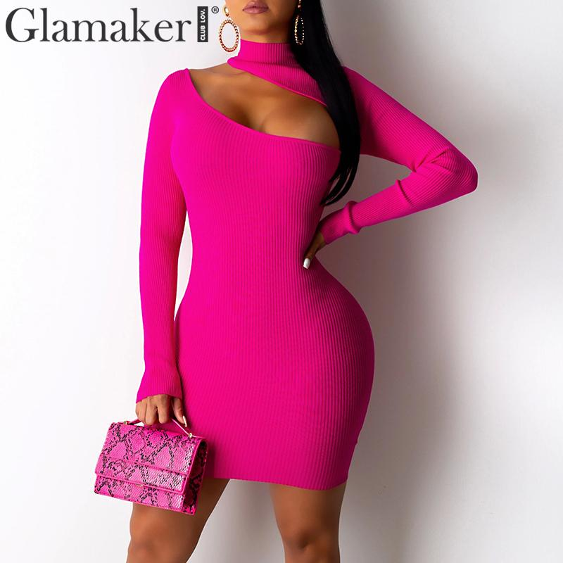 Glamaker Knitted Hollow Out Bodycon Sexy Short Dress Women Long Sleeve Black Elegant Autumn Dress Female Winter Party Club Dress
