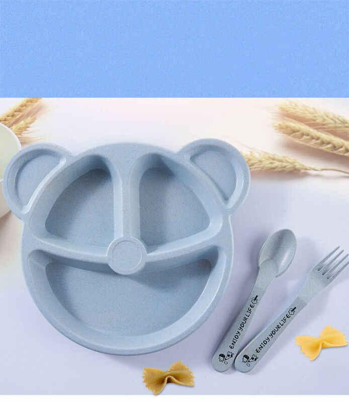 น่ารักสีชามข้าวสาลีฟางเด็กทารกเด็กดูดถาดอาหาร Placemat แผ่นบนโต๊ะอาหาร