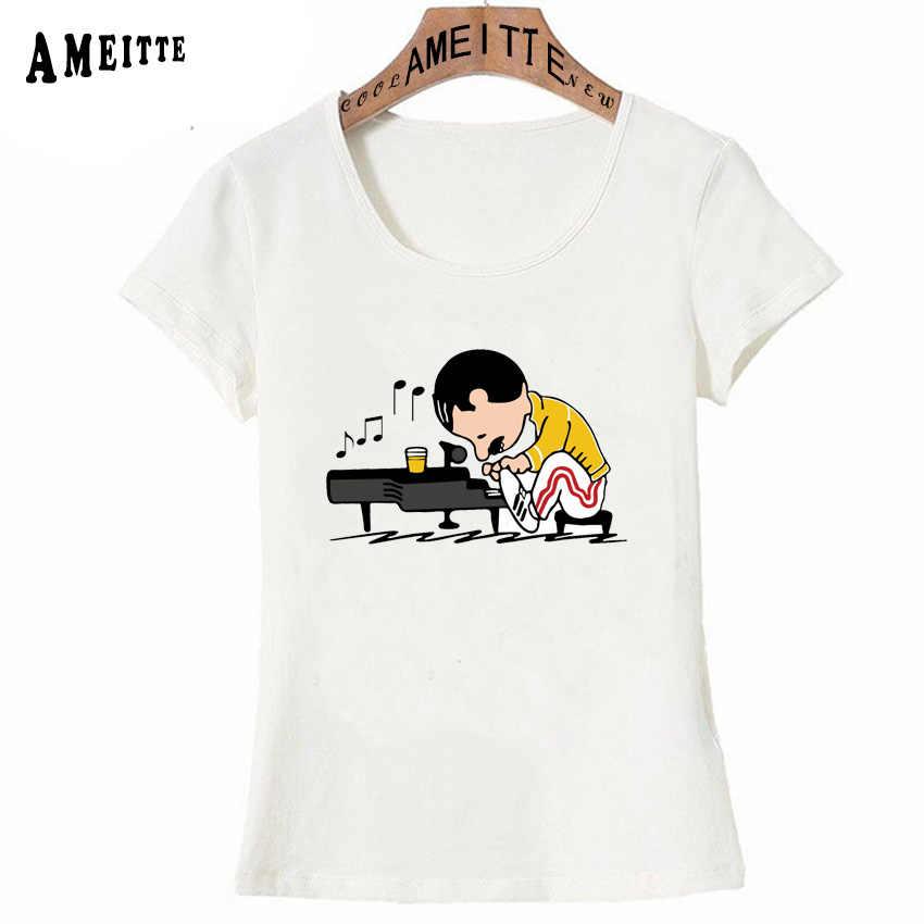 女王バンド Tシャツ女性ヒップホップレトロロックフレディ · マーキュリーピアノを演奏プリント Tシャツファッションカジュアルトップスかわいいガール Tシャツ
