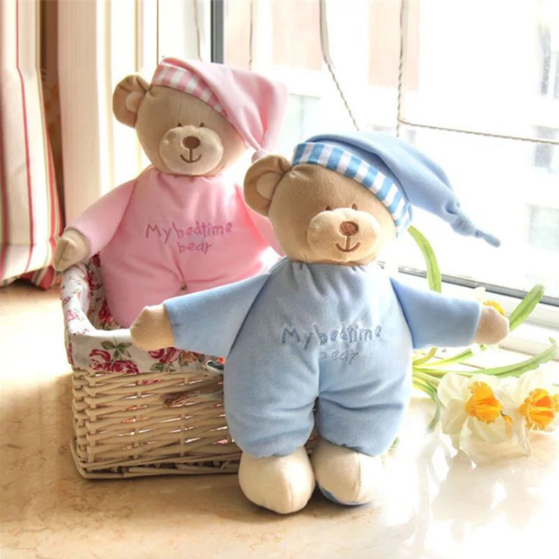 Милый розовый и синий милый медвежонок каваи, Спящая кукла на ночь, плюшевый спящий медвежонок, игрушки, мягкий подарок для новорожденного р...