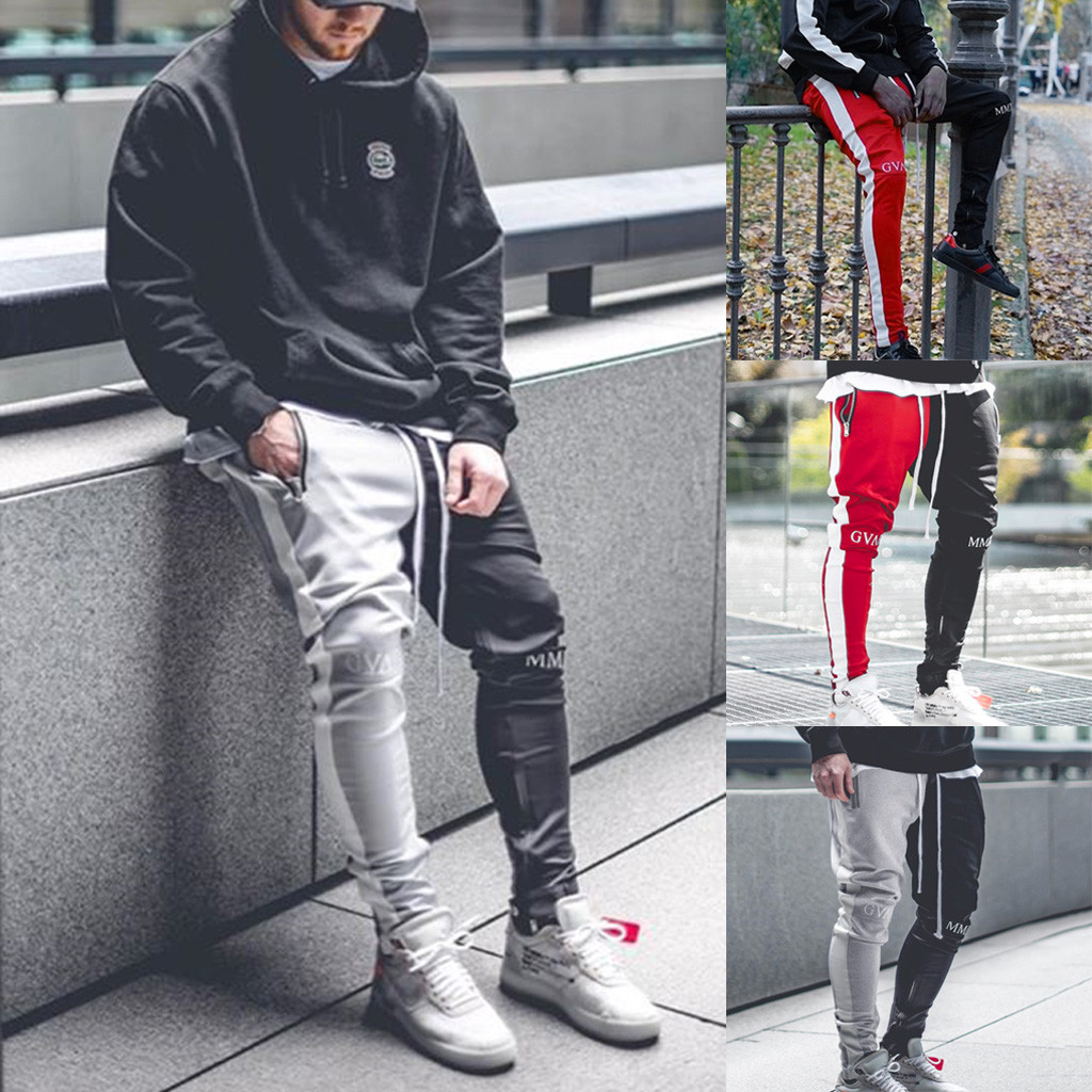 Fashion Men's Casual Solid Loose Patchwork Color Sweatpant Trousers Jogger Pantstranger Things Hoodies  Pokemon Tactical Pants