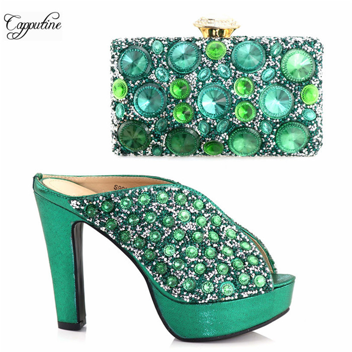 Latest Party Sest Matching High Heel Sandal Buckle Shoes And Handbag Set With Stones S999 In Green, Heel Height 12.5cm