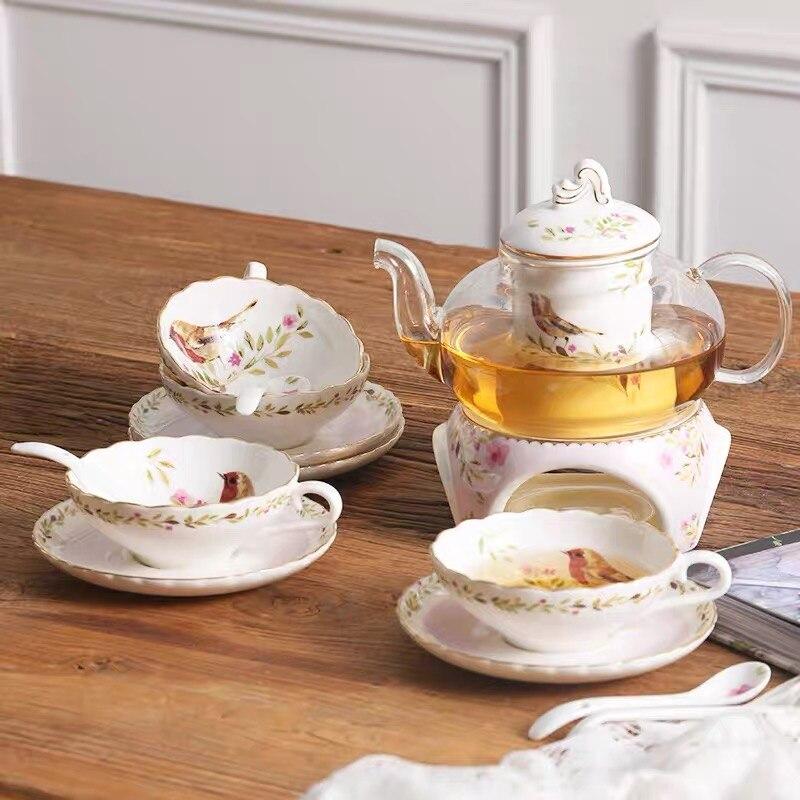 4 шт./комплект, стеклянный чайный сервиз с фильтром, керамическая чашка, блюдца, кофейный набор