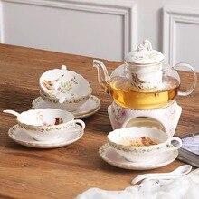 British Afternoon Tea Ceramic Cup Saucers Coffee Set Glass Teapot With Filter Heaten Base 4pcs