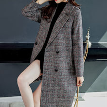 Business Tweed Blazers Women 2019 Autumn Winter Plaid Wool Blazer for Women Fashion Ladies Long Suit Coat Thicken Jackets S0074(China)