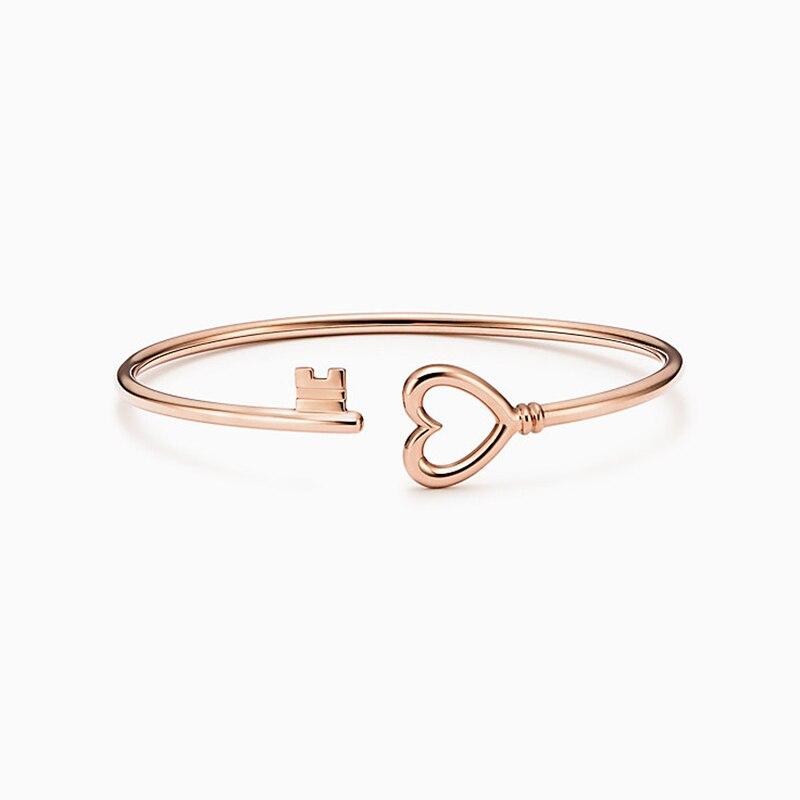 Femmes bracelet 925 bijoux en argent Sterling en forme de coeur ouverture argenterie Couple clé bracelet accessoires saint valentin cadeau - 3