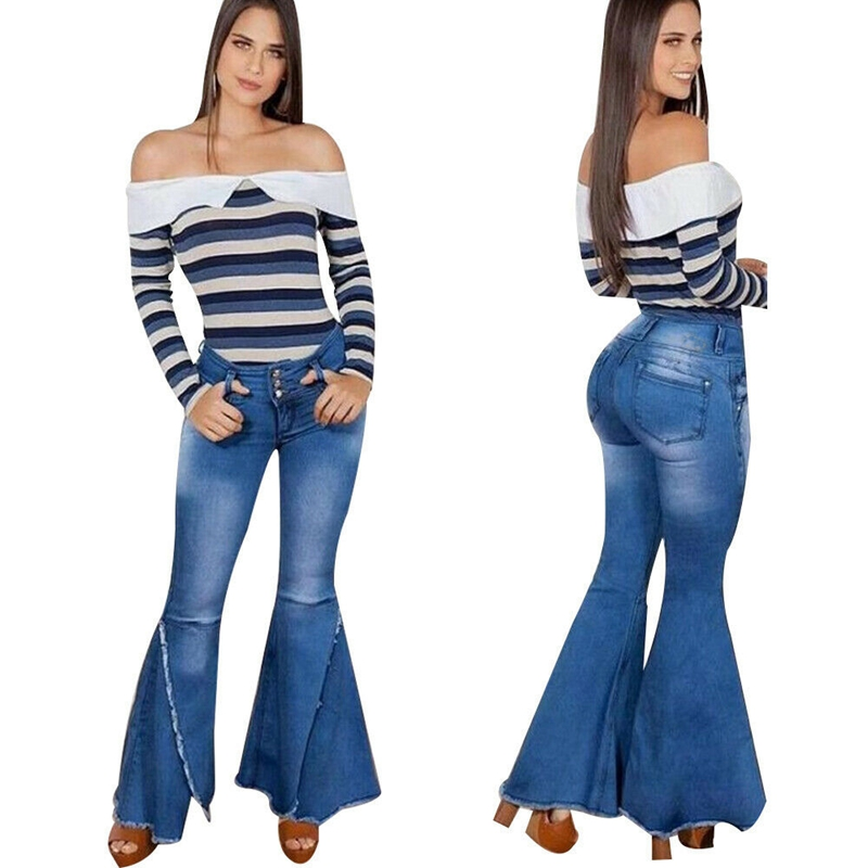 Fashion 2020 High Waist Denim Flare Pants Women Vintage Ripped Jeans Wide Leg Trousers Ladies Casual Bell-Bottoms Flare Jeans