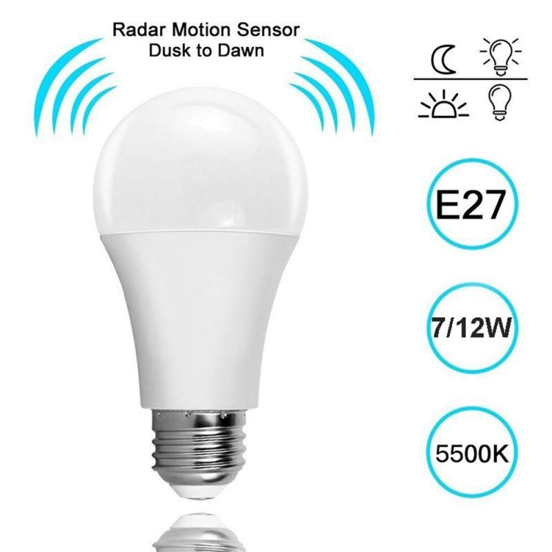 HOT LED Radar Microwave Induction Sensor Bulb E27 LED 5W 7W 9W 12W Light Bulb Cool White Radar Sensor Energy Saving Home