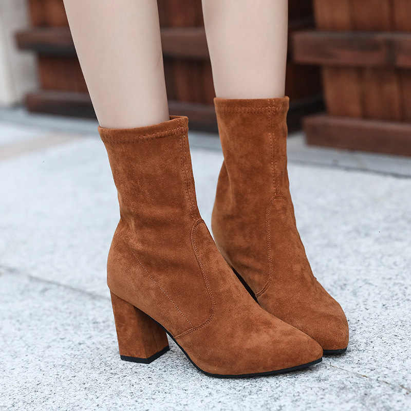 Kısa çizmeler tek çizmeler kız yüksek elastik keskin ayakkabı