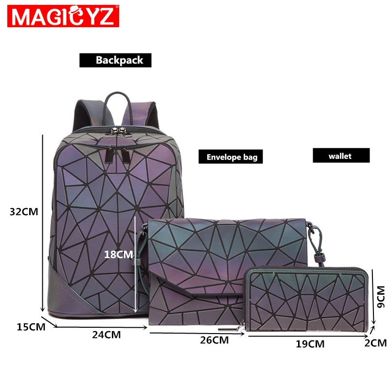 Image 4 - Laser Luminous Triangle Sequin set Backpack for women's shoulder bag School Girls Backpack Female Design Backbag holographic bag-in Backpacks from Luggage & Bags