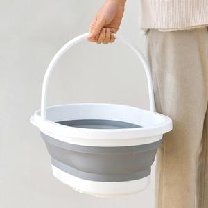 Image 2 - מתקפל פלסטיק דלי קמפינג לשטוף דלי עם ידית מתקפל רצפת סמרטוט ניקוי דיג רכב לשטוף דלי פריטים ביתיים