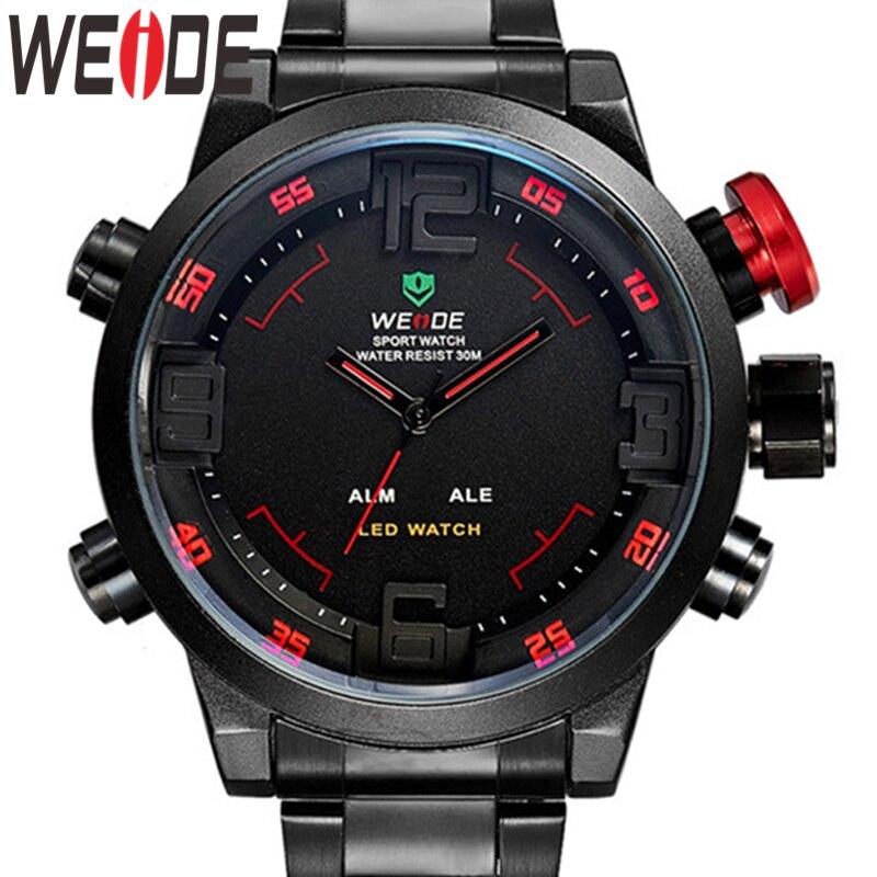 WEIDE Luxury Silver Metal Case Bracelet Belt Male Quartz Digital Numeral Led Dual Alarm Fashion Casual Clock Relogio Masculino