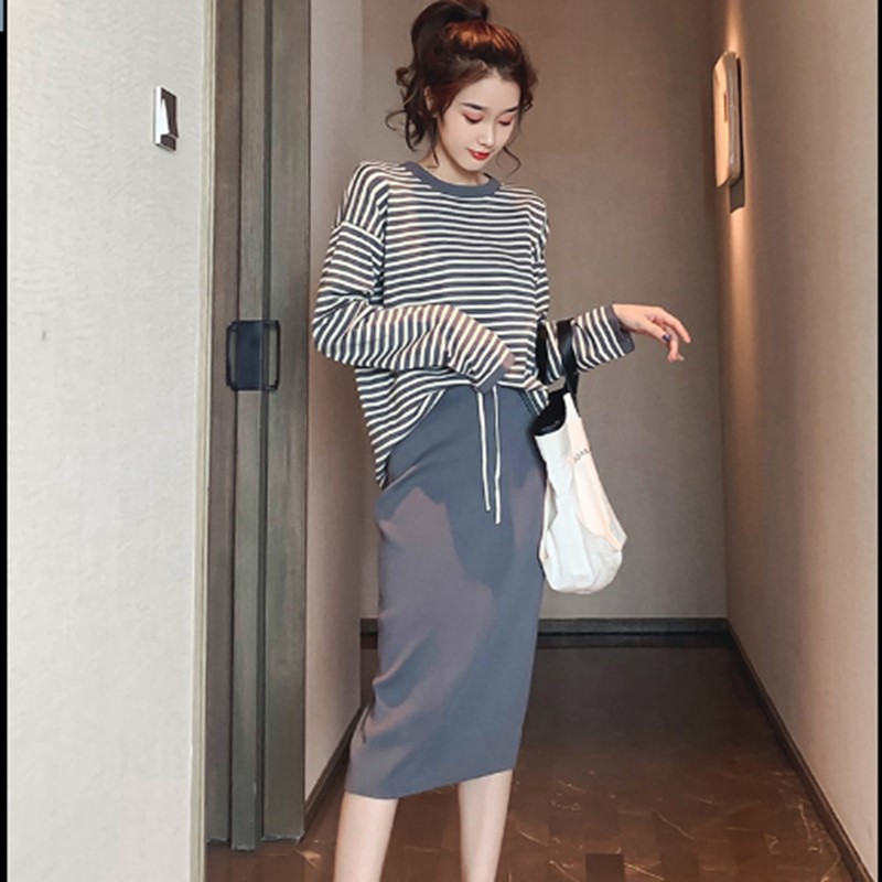 WOMEN'S Suit 2019 New Style Early Autumn Clothing Korean-style Stripes Long Sleeve Stripes Shirt Sheath Step Skirt-Style Two-Pie